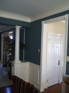 Blue room with white trim